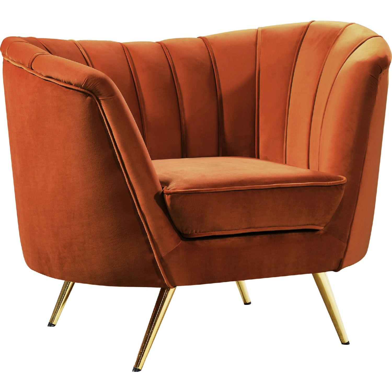 Astounding Meridian Margo Accent Chair Cognac Velvet Gold Stainless Theyellowbook Wood Chair Design Ideas Theyellowbookinfo