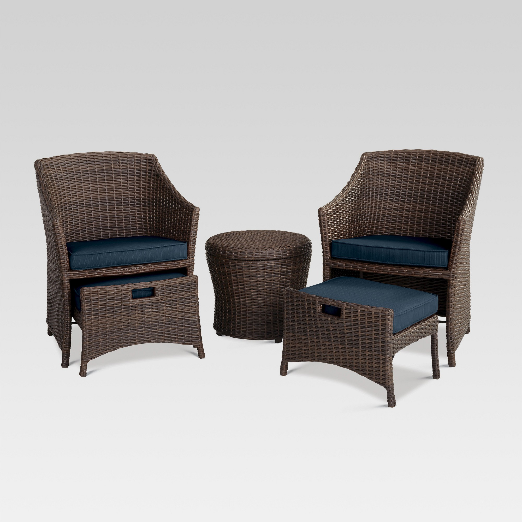 Belvedere 5pc All Weather Wicker Patio Chat Set Navy Blue