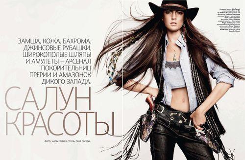 I'm a sucker for a a cowgirl , Beauty Salon , Jacquelyn Jablonski  by Jason Kibbler for Vogue Russia March 2011