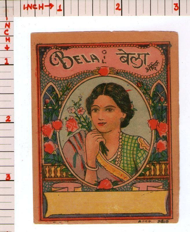Cosmetic Bela Hair Oil Brand Perfume Label Vintage India Old 7399