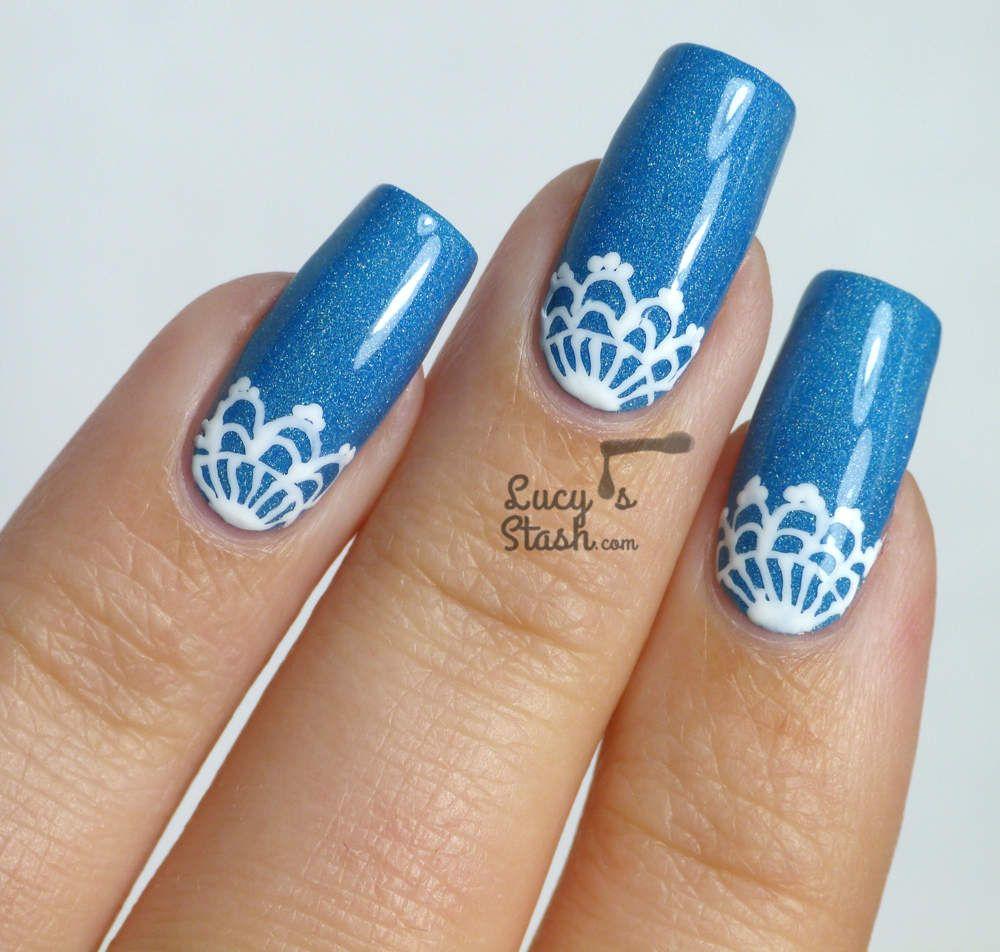 Lace Half Moon Nail Art feat. Nails Supreme Nail Art Pens | Beauty ...
