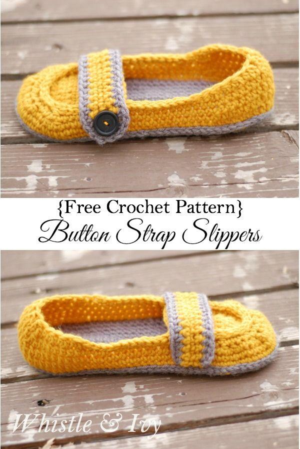 Women\'s Button Strap Slippers | Stricken häkeln, Gehäkelten schal ...