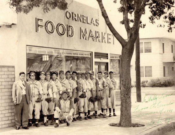 Ornelas Market with baseball team 1940s