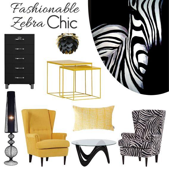 Fashionable Zebra Chic. Die Zebras sind los und sonnen sich im sommerlichen Gelb in unserer Wohnung! Die Mischung aus auffälligem Streifenmuster und pulsierendem Gelb ist der neue Interiortrend.