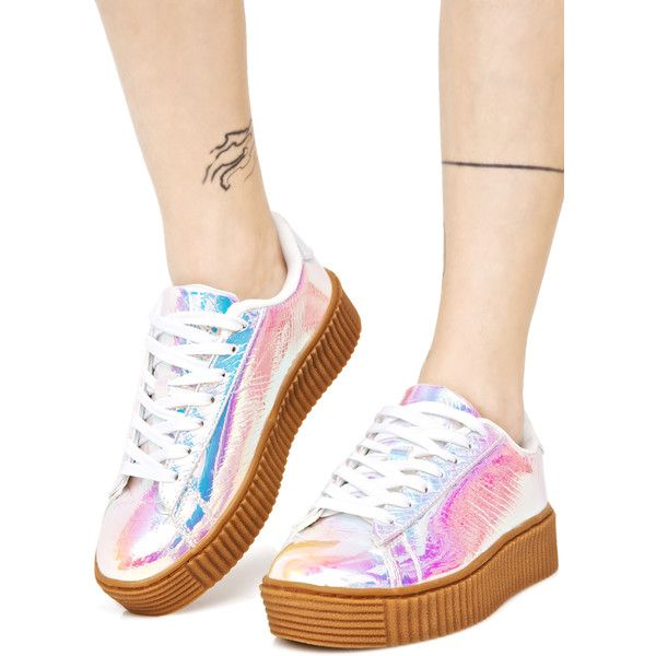 brand new dab67 bba24 Pink Holographic Creeper Sneakers ( 38) ❤ liked on Polyvore featuring shoes,  sneakers, holographic, snake print sneakers, creeper shoes, galaxy shoes,  ...