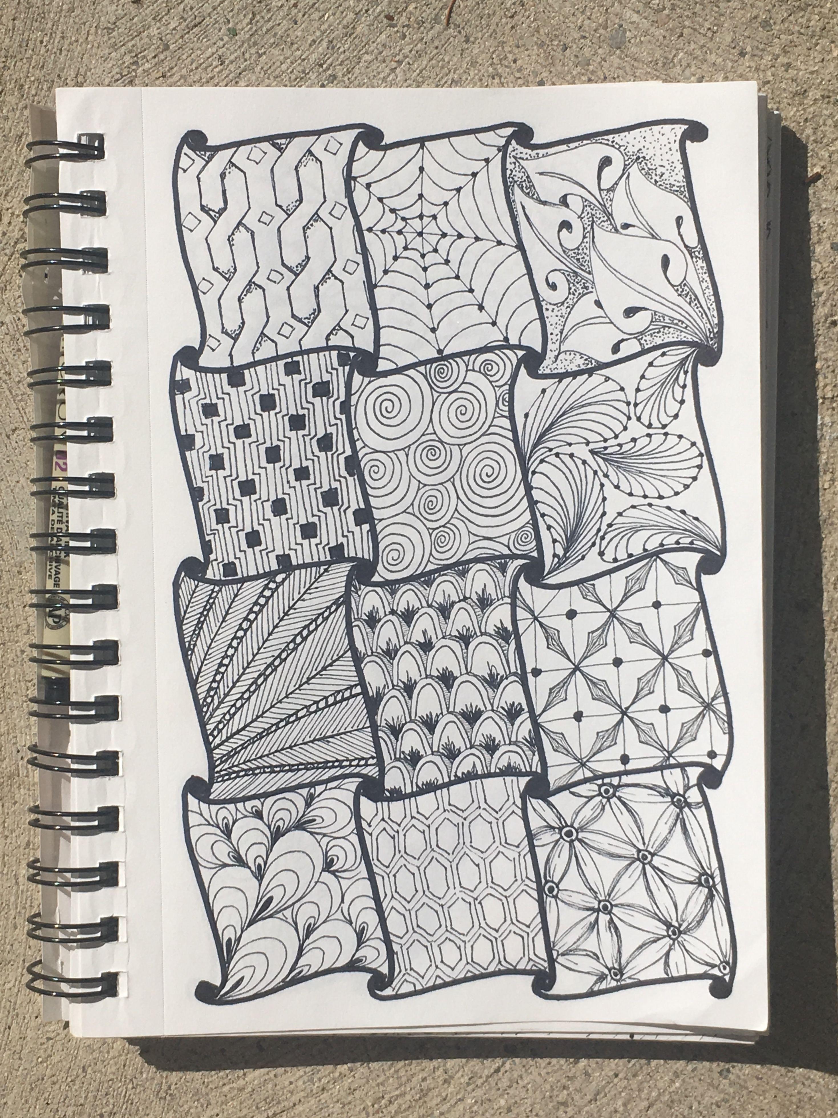 Zentangle Doodle Twelve Patterns