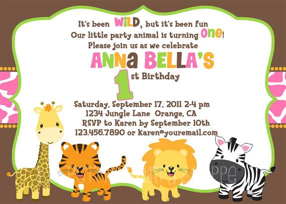jungle safari birthday invitation for