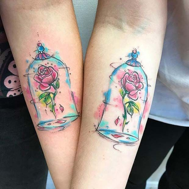 34019d1b7 Beauty and the Beast Enchanted Rose for Small Disney Tattoo Ideas  #TattooIdeasInspiration