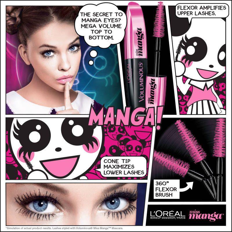 2e45c4ddee2 L'Oreal Paris Voluminous Miss Manga Mascara - Waterproof 378 Blackest Black  | Walgreens