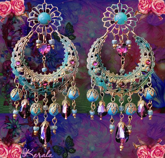 Large Exotic Moroccan Moon Earrings, Turquoise Bohemian Gypsy Chandelier Earrings, Purple Crystal - MTO on Etsy, $48.00