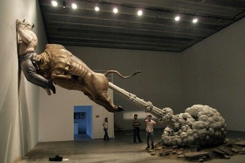 """Sculpture By Chen Wenling. This sculpture """"What You See Might Not Be Real"""" is made by Chinese artist Chen Wenling. It depicts the Ponzi schemer (Bernard Madoff) as bull, devil who has sentenced to 150 yeas in prison. The bull that looks strong and is ..."""