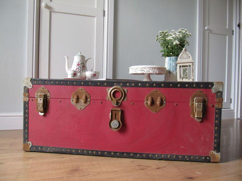 Vintage Shabby Chic Red Steamer Trunk Travel Case Coffee Table Storage Chest Ebay