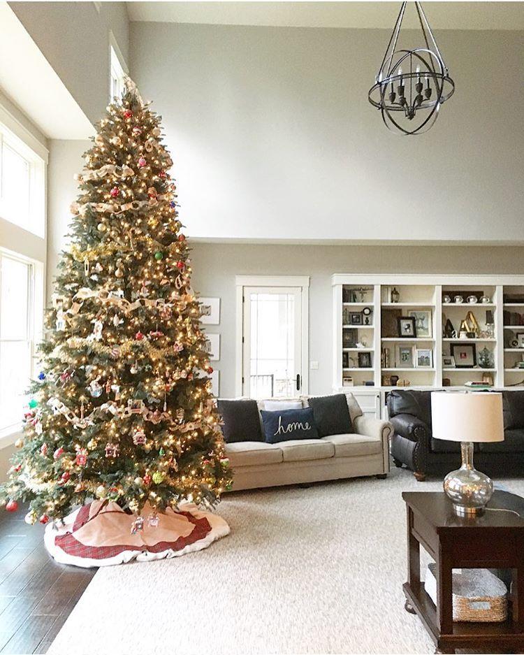 Tall Christmas Tree Neutral Living Room Modern Farmhouse Christmas Plaid Tree Skirt Homegoods Tall