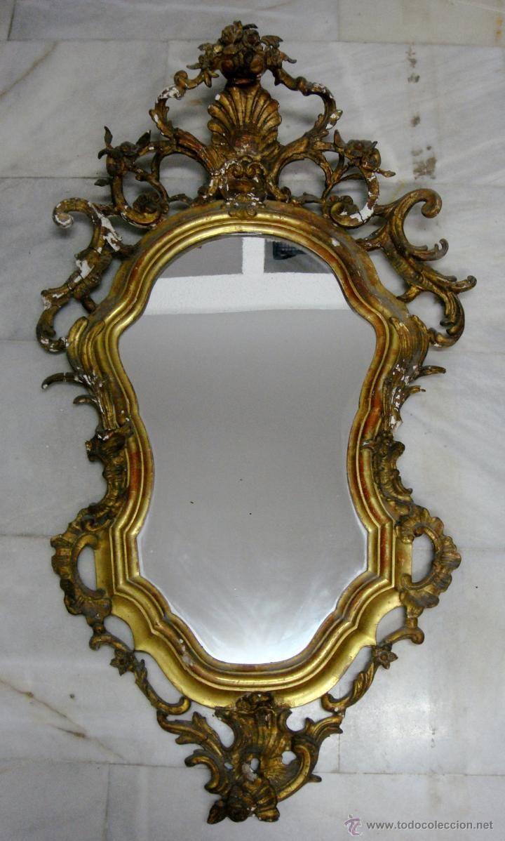 Antiguo Cornucopia o Espejo Dorado. S.XIX. Madera, estuco y pan de ...