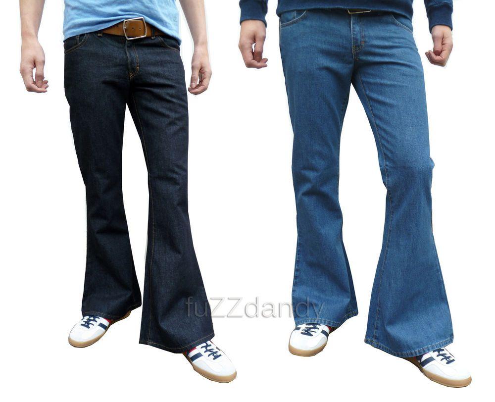 Details about mens denim bell bottom flares jeans flared vtg 60s ...