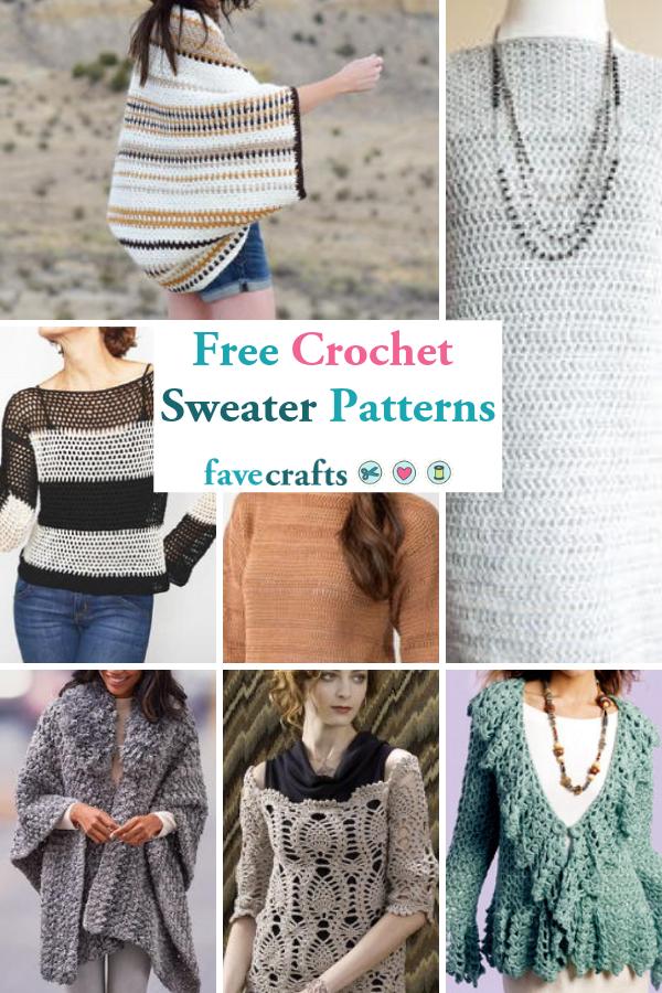 34 Free Crochet Sweater Patterns Crochet Ponchos Capes