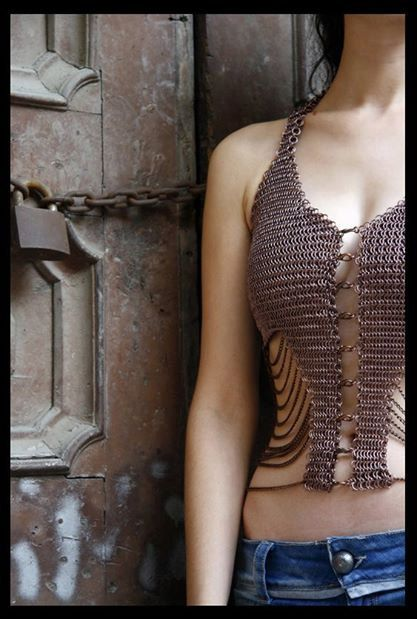 5967905fa76551 Chainmail Top With Chains In Copper Color