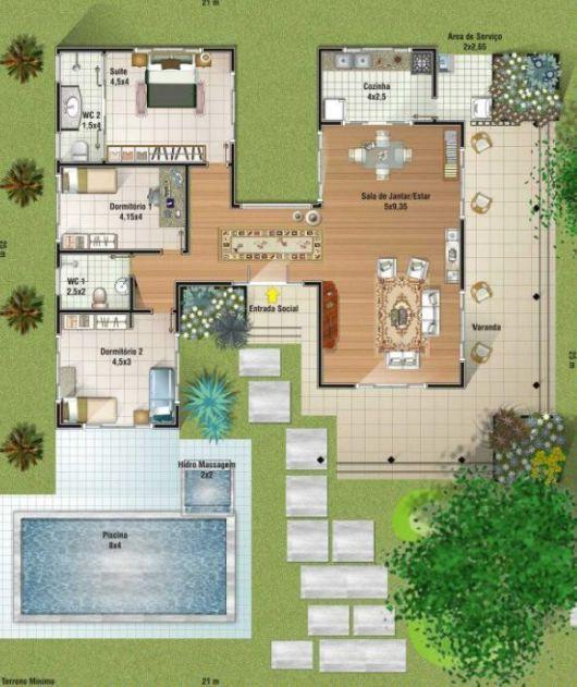 projeto piscina com hidromassagem planos de casas con 3
