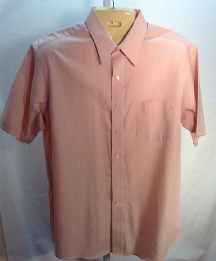 Stafford Wrinkle Free Men's Dress Shirt Size 17 Short sleeve Coral ...