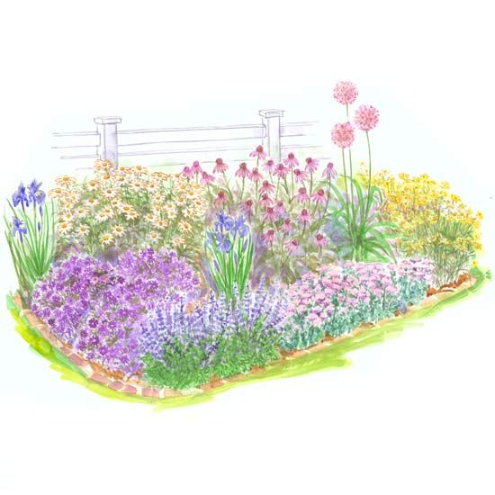 15 No Fuss Garden Plans Filled With Plants That Thrive In Full Sun Small Garden Plans Garden Planning Easy Perennials