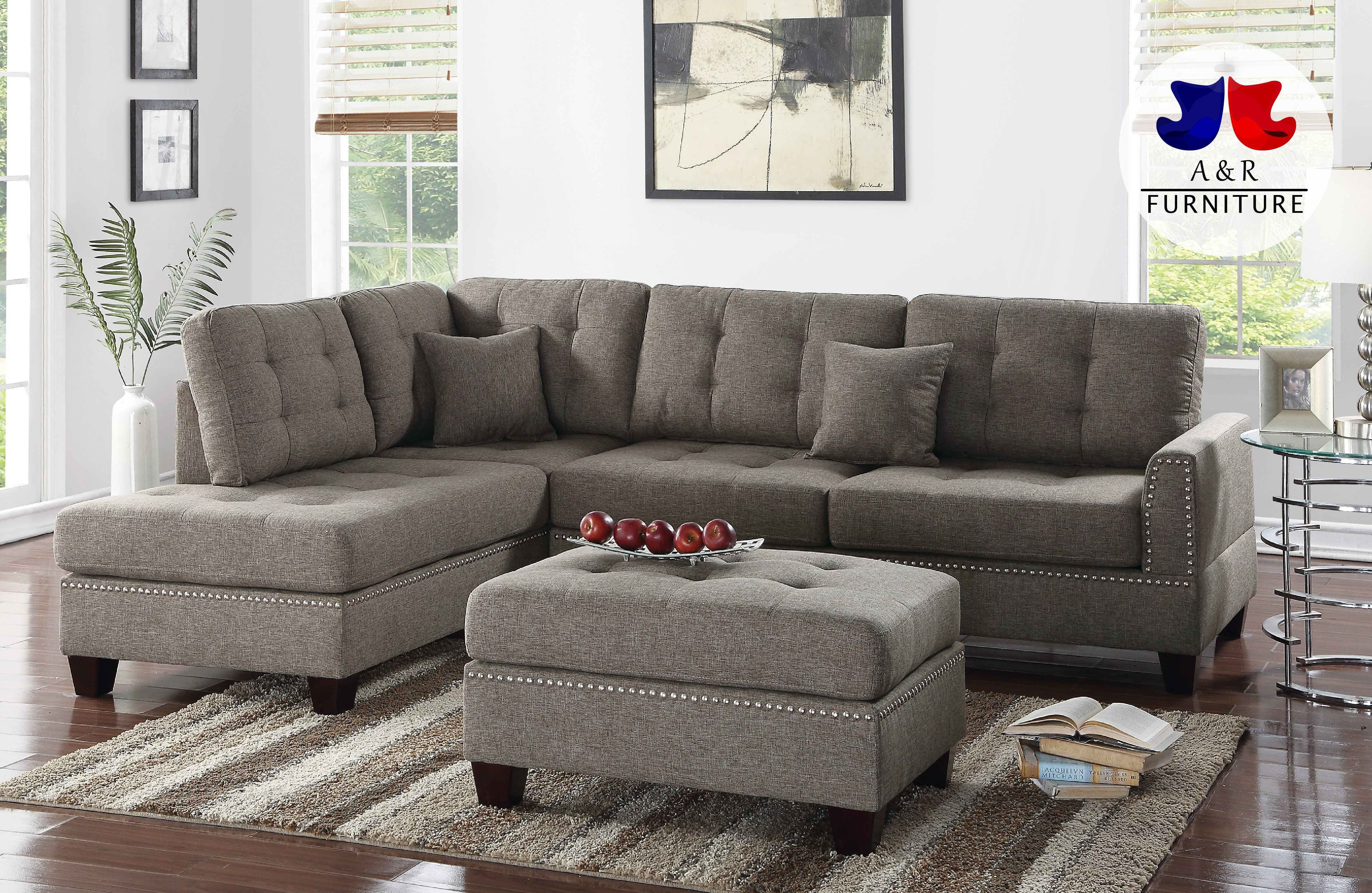 3pc Reversible Chaise Sectional Sofa Ottoman Set Pdx 13 Grey
