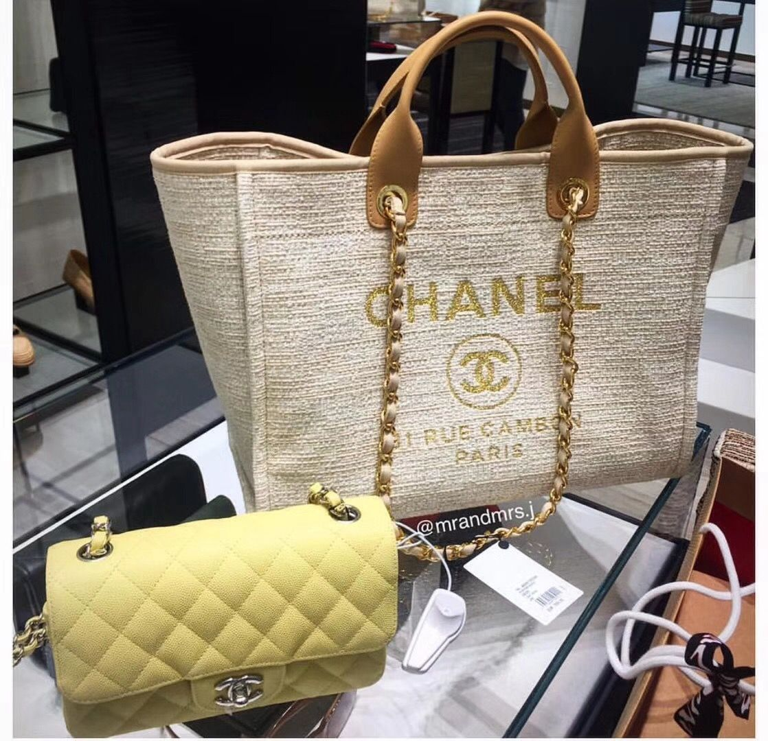 b2775587c9b3 Chanel Deauville Large Shopping Bag A66942 Beige 2018 | cute bags in ...