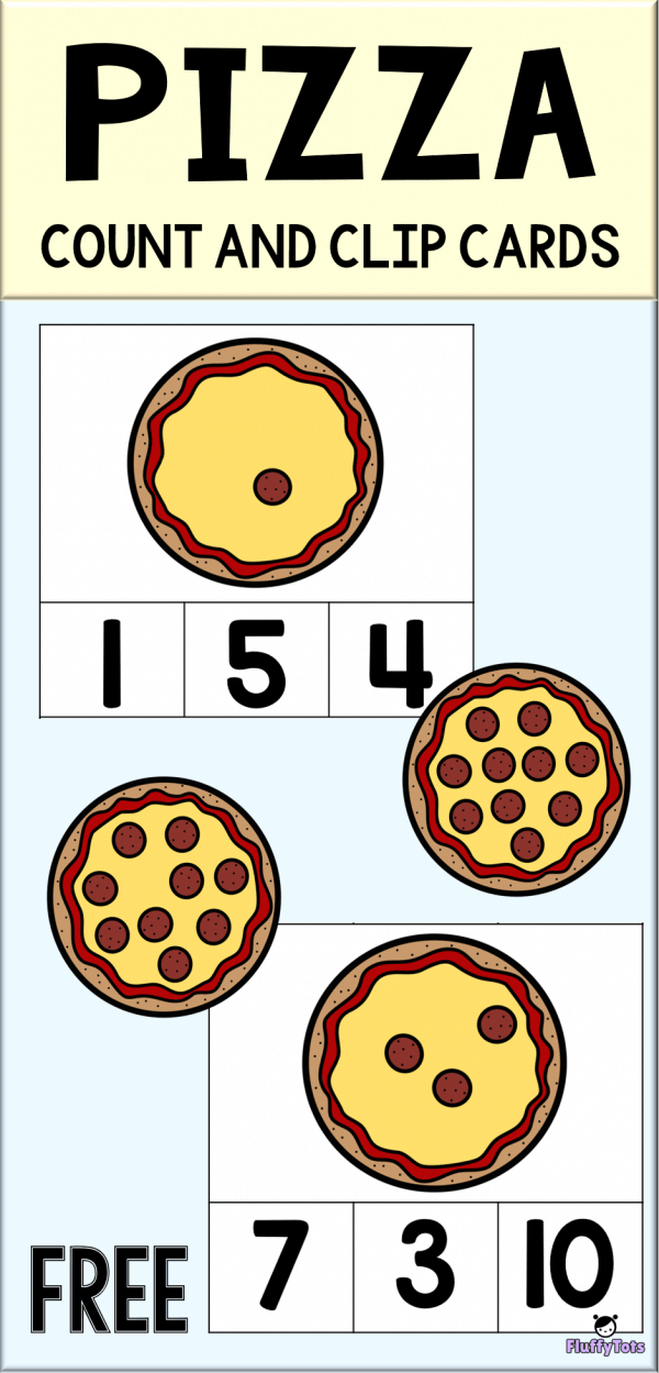 Pizza Count and Clip Cards FREE 20 Yummy Counting Cards