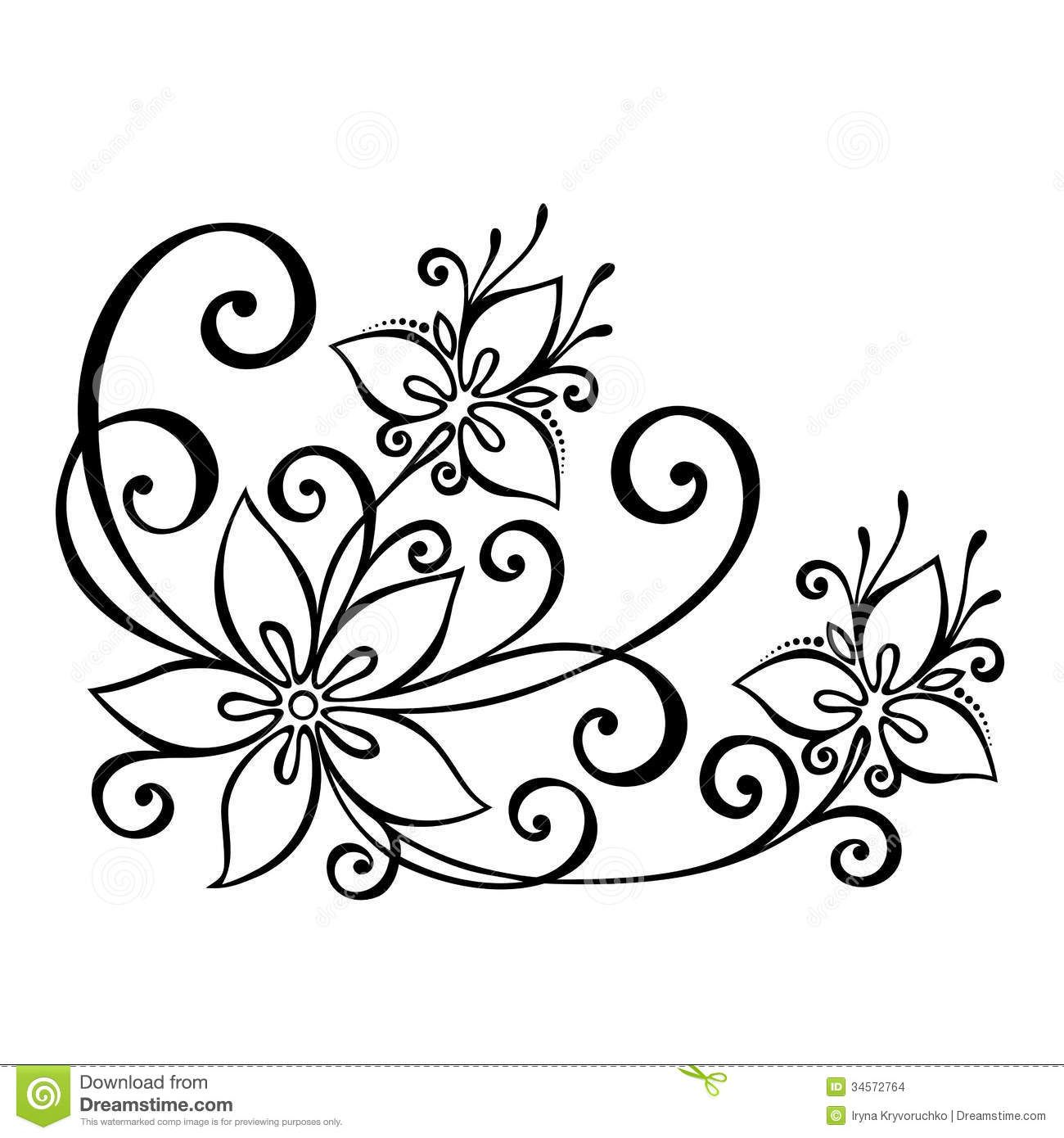 Decorative Flower Leaves Beautiful Vector Patterned Design 34572764