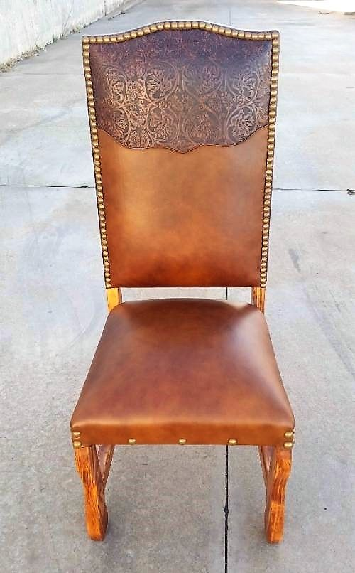 Leather Dining Chairs Western Tooled Leather Dining Room Chairs