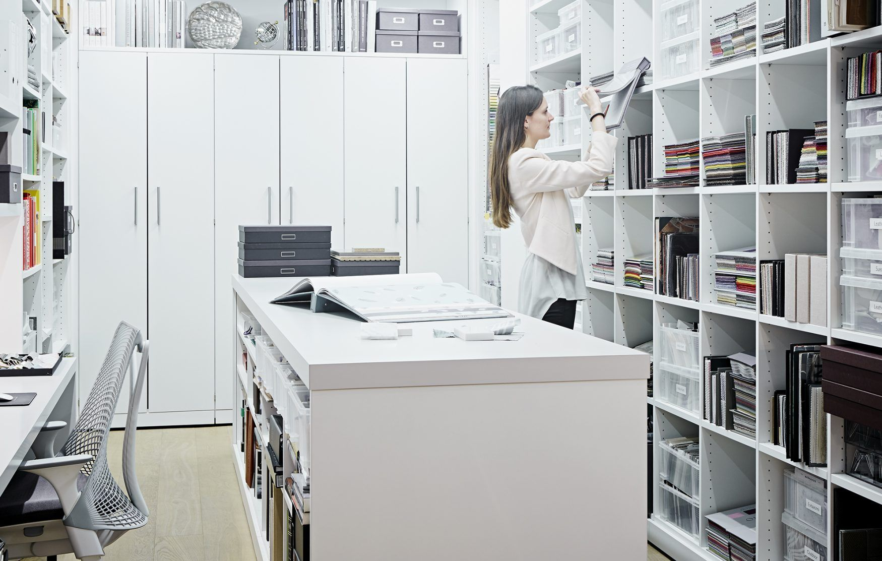 Library and specification room at taylor howes - Interior design materials and specifications ...