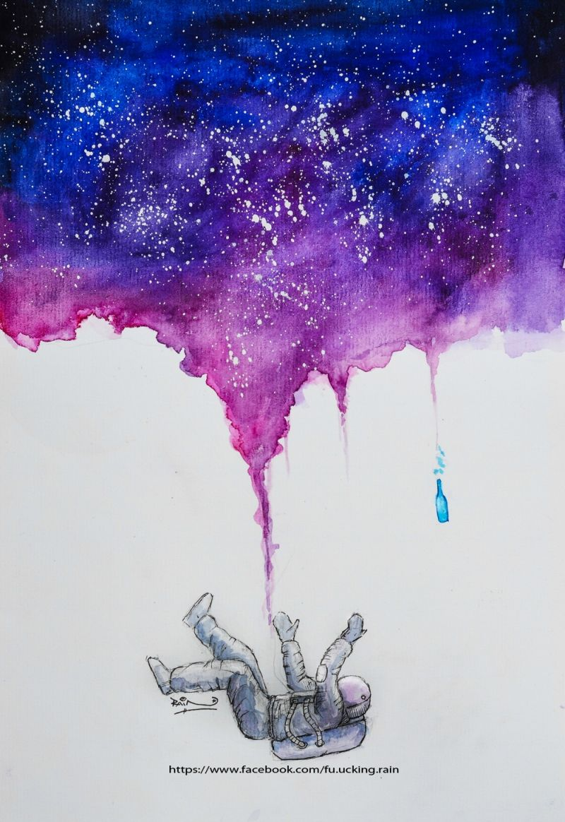 Watercolor galaxy b t kim painting drawing pencil for How to paint galaxy