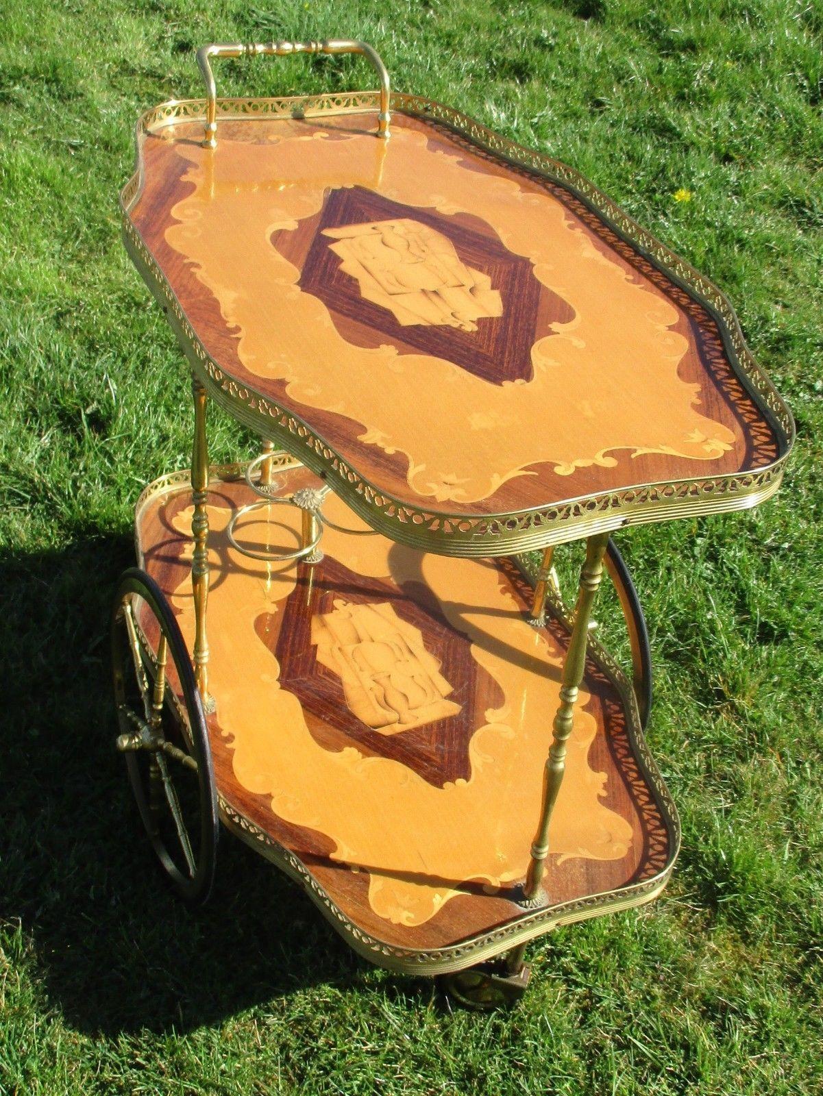 Bar Cart Italian Hollywood Regency Gold Chrome Wood Inlay Marquetry