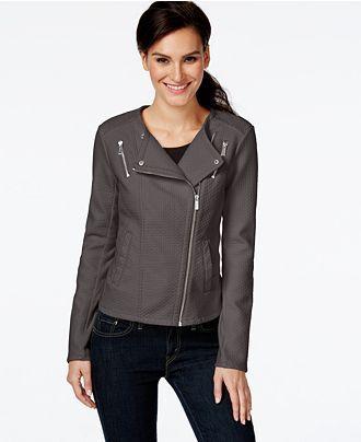 Calvin Klein Faux Leather Textured Moto Jacket Jackets Blazers Women Macy S Blazer Jackets For Women Vegan Leather Jacket Jackets