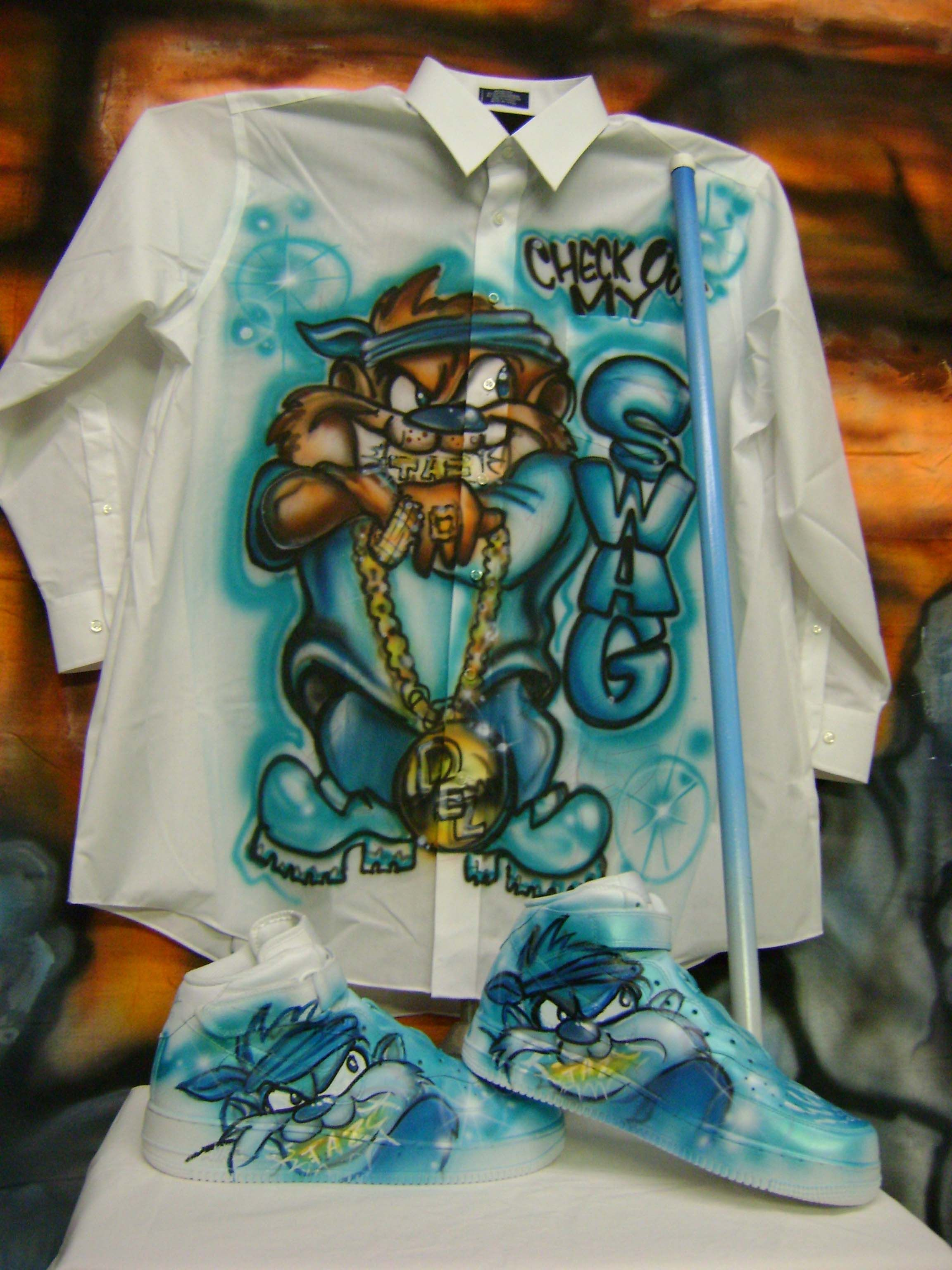Airbrushed Clothing And Shoes With Tasmanian Design 15 Amazing