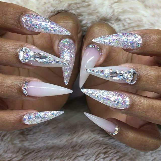White And Silver Stiletto Nails
