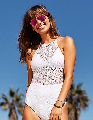 94754d263a34 Aerie Crochet One-Piece Swimsuit , White | Aerie for American Eagle ...