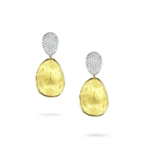 Marco Bicego Lunaria 18K Gold Hand-Engraved Large Stud Dangle Earrings with Diamonds
