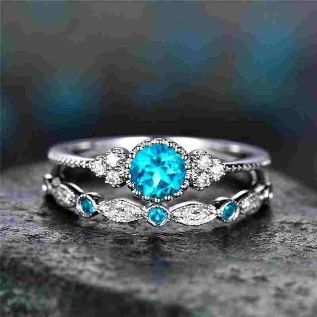 10da461d8 Luxury Crystal Ring 2Pcs/Set in 2019 | Beautiful Rings | Colored ...