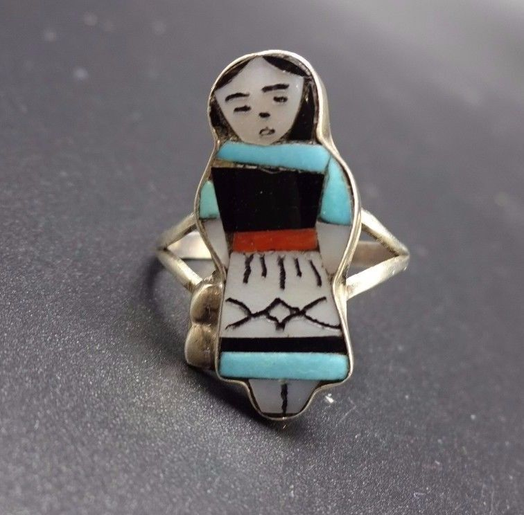 Signed Vintage ZUNI Sterling Silver & TURQUOISE RING, sz 6, Indian Maiden WASETA