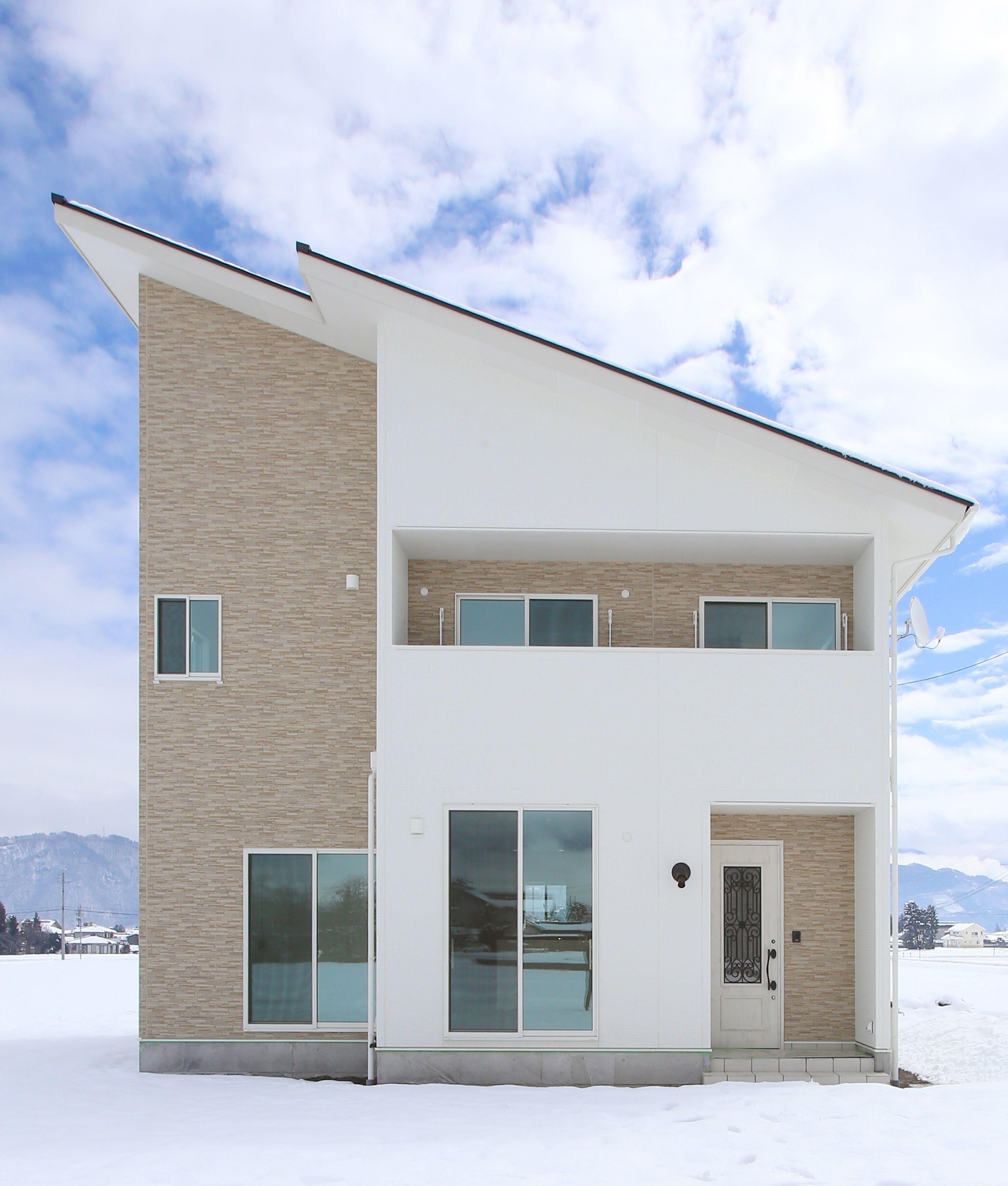 ホワイト ベージュの外壁がかわいいお家 家 外観 モダン 片流れ