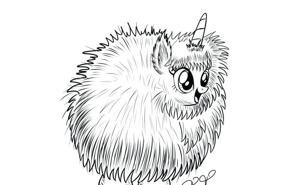 Pink Fluffy Unicorn Easy Cute Unicorn Coloring Pages In 2020