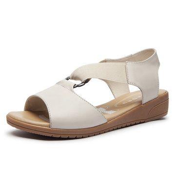 High quality SOCOFY Pelle Pure Color Original Peep Toe Zipper Flat
