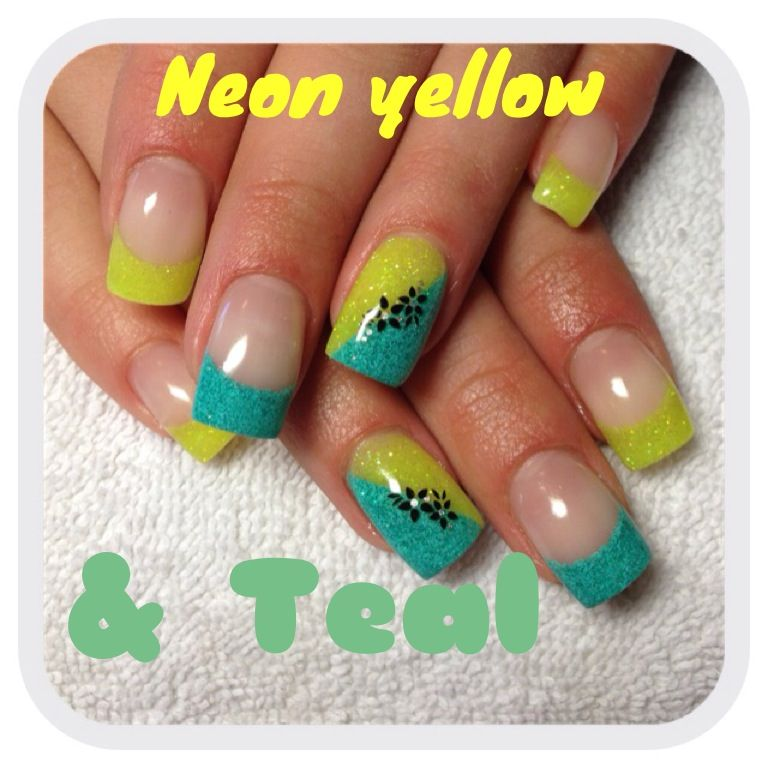 Neon yellow and teal gel nails..Like the idea maybe more me with dif ...