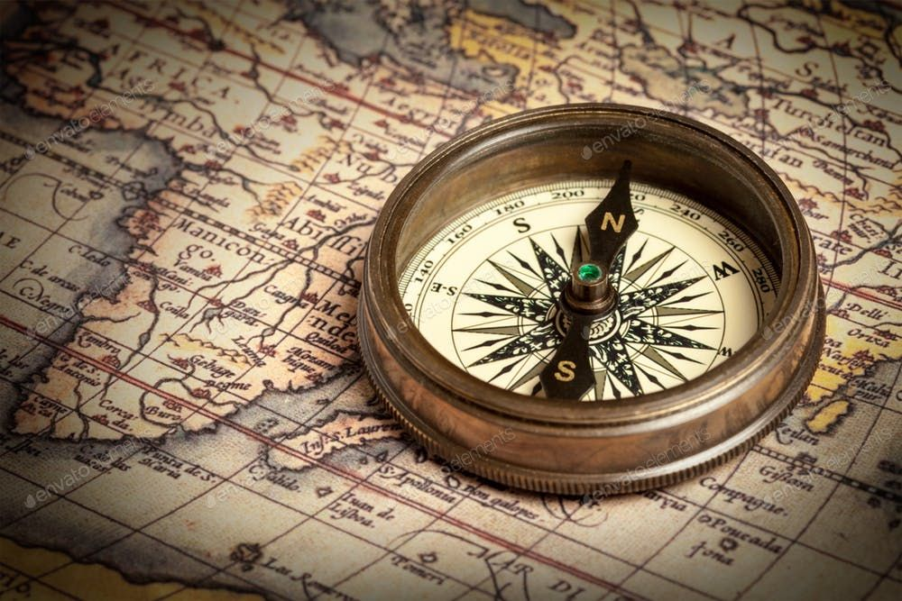 Old Vintage Compass On Ancient Map Photo By F9photos On Envato Elements Vintage Compass Ancient Maps Compass