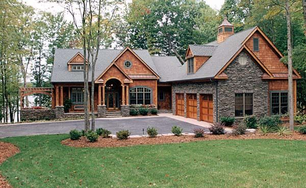 House Plan 85480 | Cottage Craftsman Plan with 4304 Sq. Ft., 4 ... on craftsman homes with detached garage, cape cod with 3 car garage, craftsman homes with bonus room over garage,