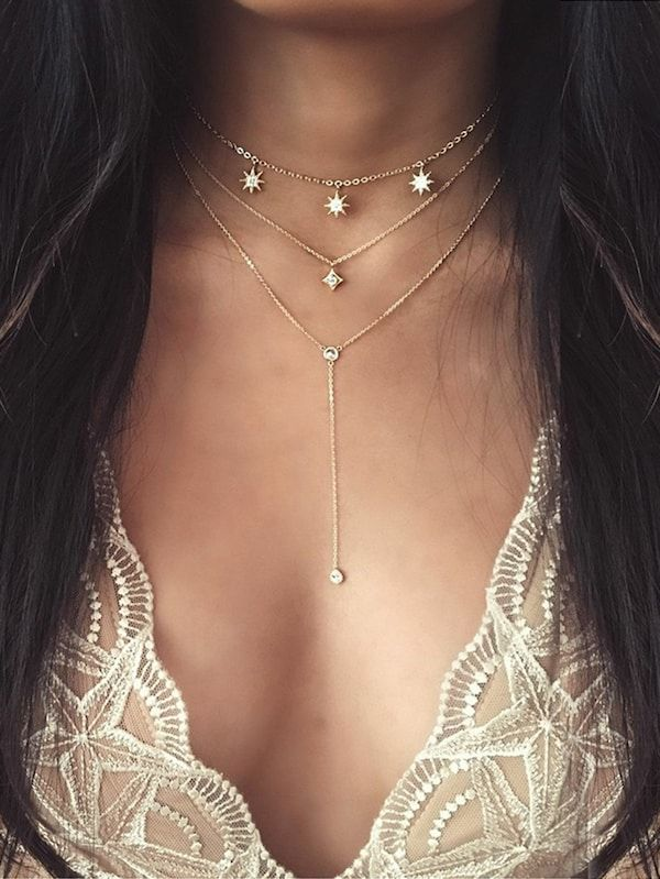 70d9ef8327 Star Detail Lariats Layered Necklace | SHEIN | Fashion in 2019 ...