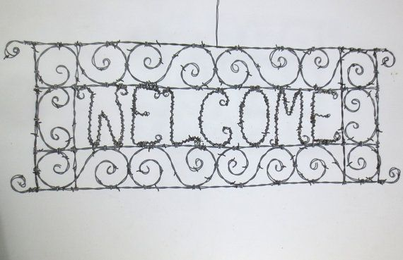 Spirillian Filigree Barbed Wire Welcome Sign Made by thedustyraven