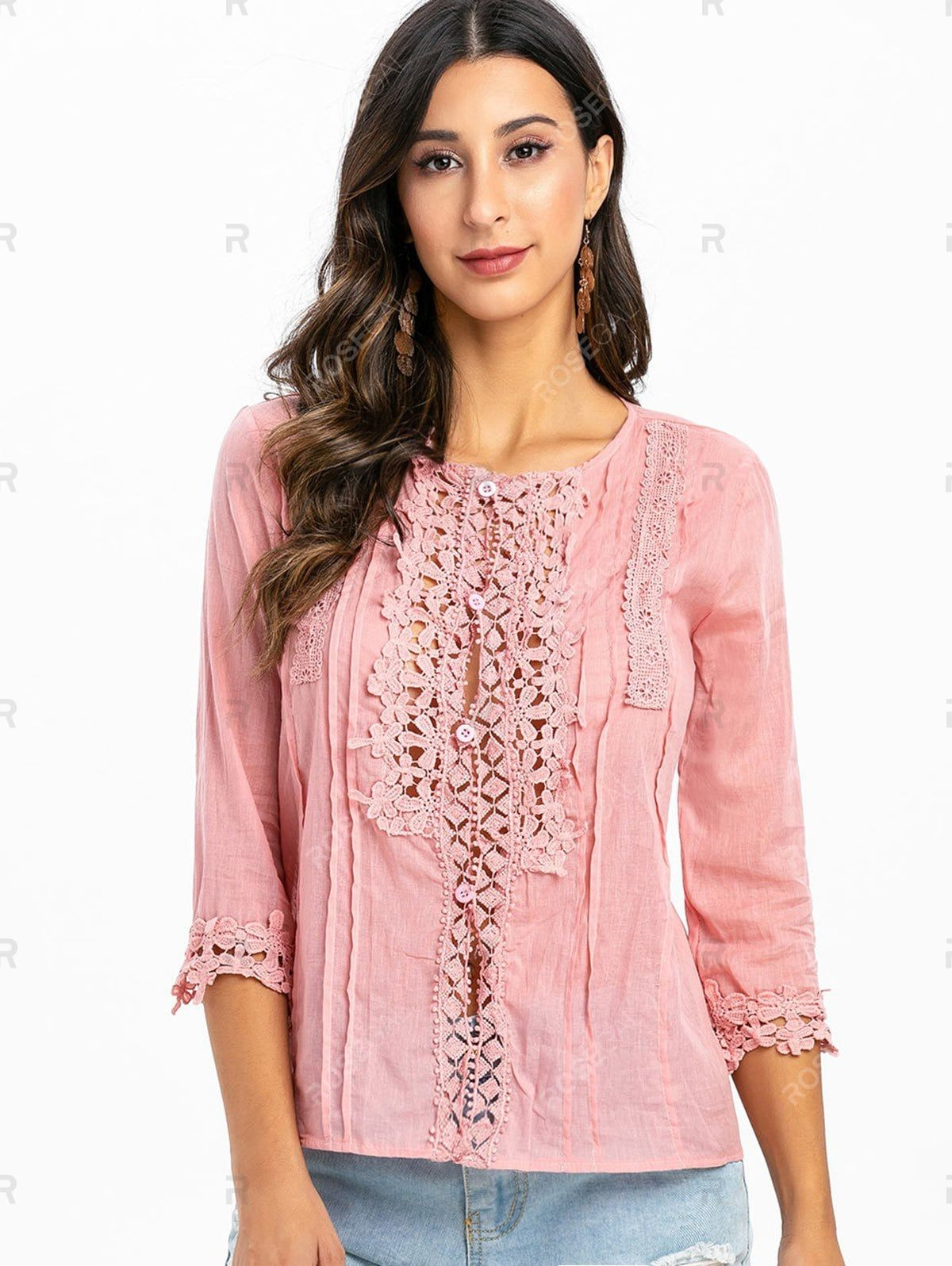 Lace Panel Loop Button Three Quarter Sleeve Blouse