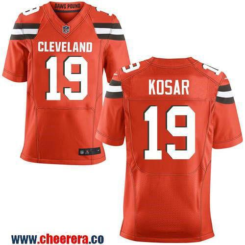 mens cleveland browns 19 bernie kosar retired orange stitched nfl nike elite jersey