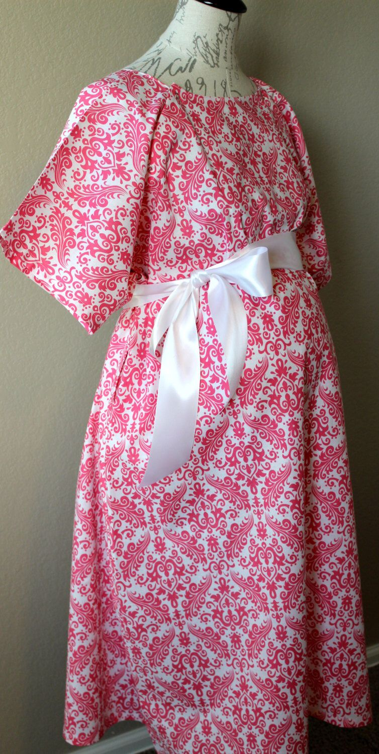 Maternity Hospital Delivery Gown in Pink Damask, Super Soft Fabric ...